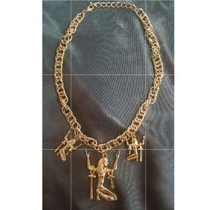 New gold tone Egyptian Cleopatra Ankh necklac